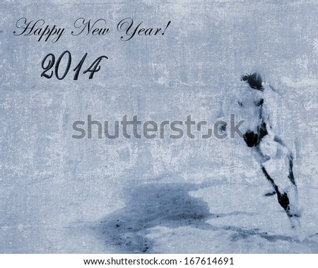 New Year 2014 textured postcard with a horse silhouette in motion  - stock photo