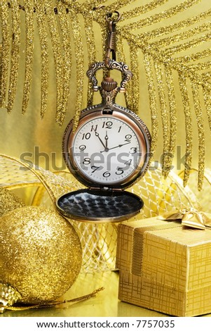 New Year time on golden clock - stock photo