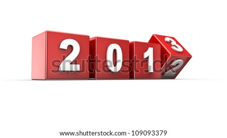 New year 2012 to 2013 concept in 3d