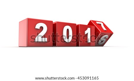 New year 2016 to 2017 concept in 3d - stock photo