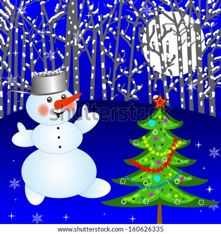 new-year tree and snow man on a background winter landscape,illustration