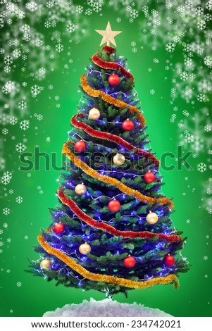New year tree over green background - stock photo