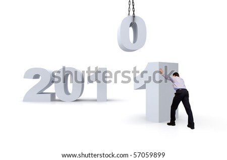 New year 2011 under constructioan. - stock photo