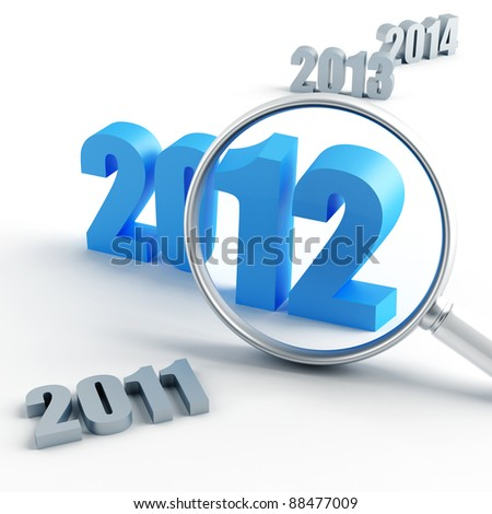 new 2012 year under magnification and other years - stock photo
