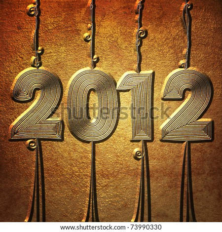 New year 2012 vines in metal style - stock photo