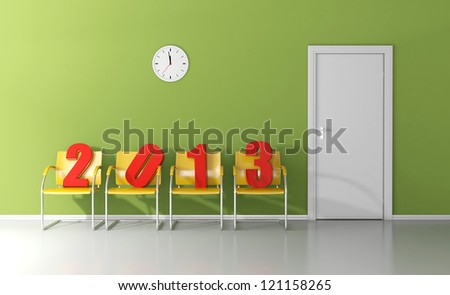 New year 2013 waiting in the waiting room to enter the door - stock photo
