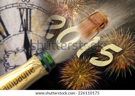 new year 2015 with champagne, watch and firework - stock photo