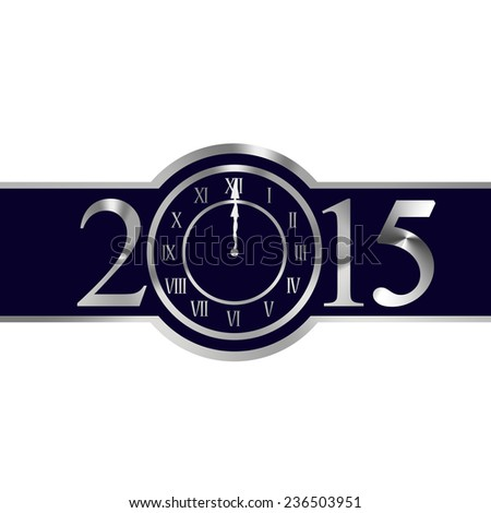 New year 2015 with clock instead number zero - stock photo
