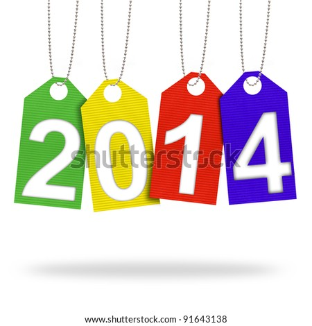 new year 2014 with Corrugated paper craft on white background