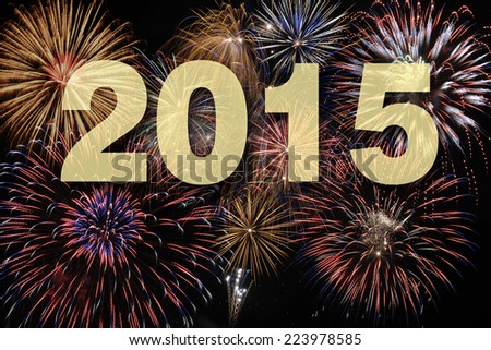 new year 2015 with firework - stock photo