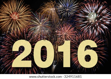 new year 2016 with fireworks - stock photo