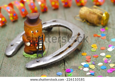 new year 2015 with horse shoe and talisman - stock photo