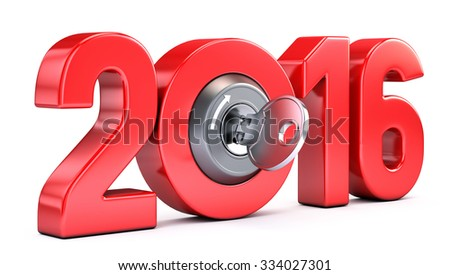 New Year 2016 with ignition key - stock photo