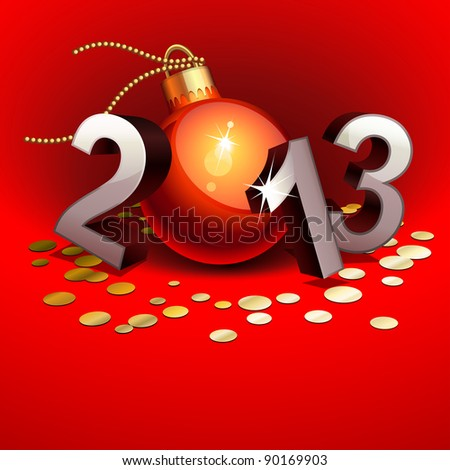 New year 2013 with numbers and bauble