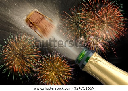 new year 2016 with popping champagne and firework - stock photo
