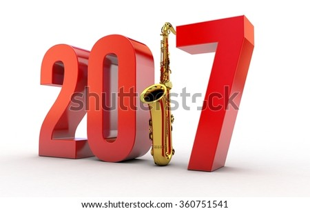 New Year 2017 with Saxophone against Background - stock photo