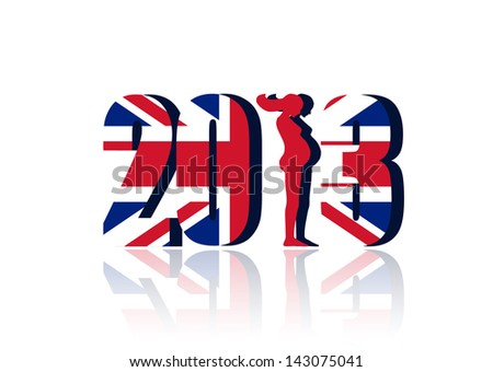 New Year 2013 with Union Flag - a 3d image. - stock photo