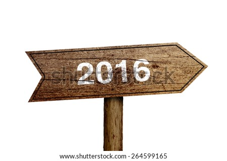 New year wooden roadsign is isolated on white background. - stock photo