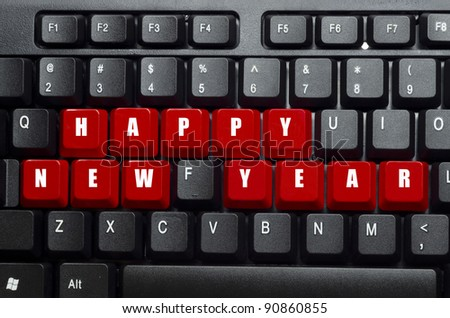new year words on red and black keyboard button