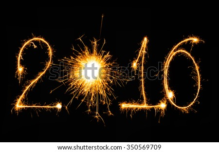New year 2016 writing sparkles firework with black background