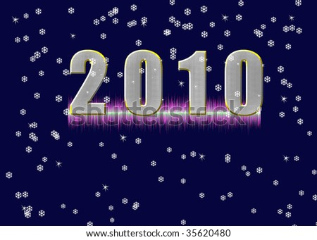 New Years. Abstract background with stars and snowflakes. Welcome! More similar images available. - stock photo