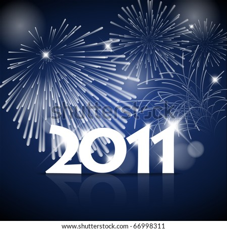 New Years card 2011 with fireworks - blue and white version - stock photo