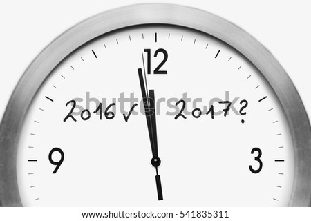 new years eve clock with questionmark