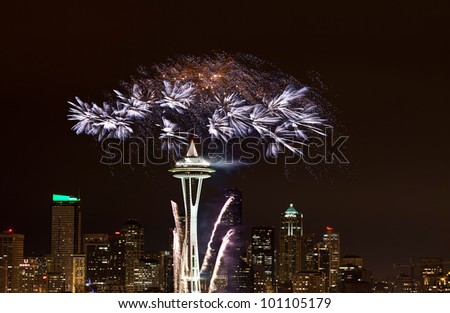 New years eve Fireworks Display at Seattle. - stock photo