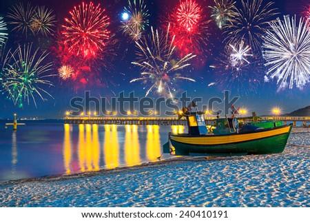 New Years firework display at Baltic Sea, Poland - stock photo