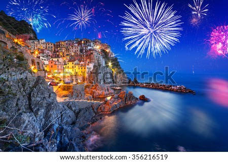 New Years firework display in Manarola town, Italy - stock photo