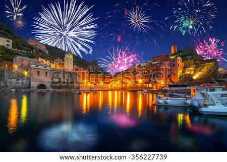 New Years firework display in Vernazza town, Italy - stock photo