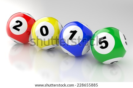 New Years 2015 lottery balls 3d render - stock photo