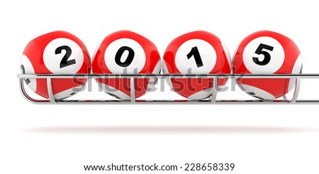 New Years 2015 lottery balls on a white background - stock photo