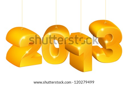 New Years ornaments saying 2013 for New Year or Christmas twenty thirteen. - stock photo