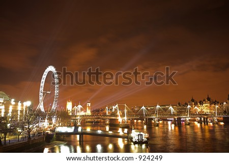 New years over the river Thames - stock photo