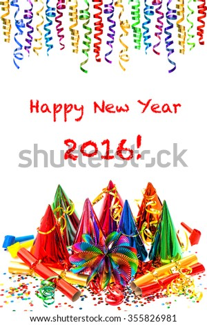 New Years party decoration. Colorful garlands, streamer, hats and confetti on white  background. Sample text Happy New Year 2016! - stock photo