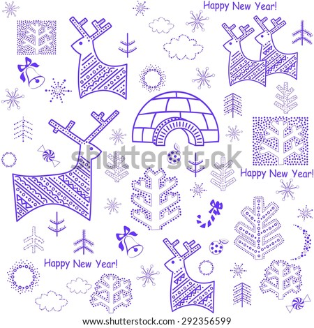 New years wallpaper with reindeers and igloo - stock photo