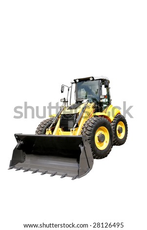 New yellow digger on a white background - stock photo