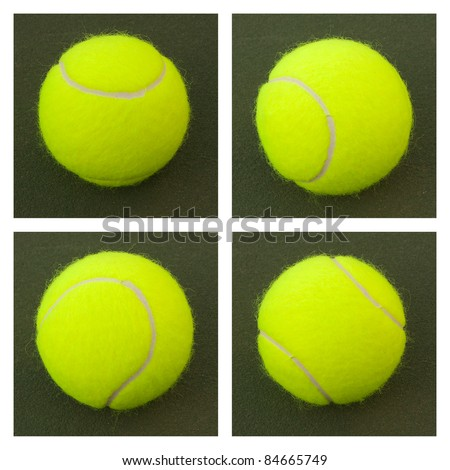 New yellow tennis balls on a green court - stock photo