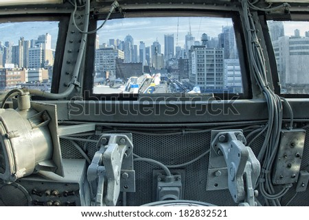 NEW YORK A view from plane cockpit - stock photo