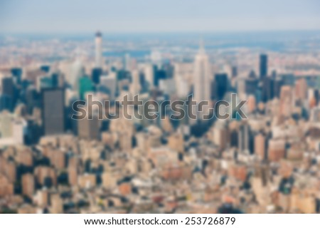 New York Aerial View from Helicopter. Blurred Background. - stock photo