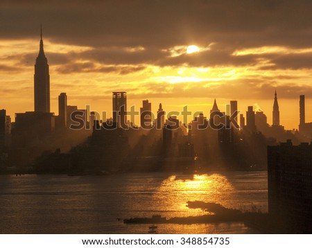 New York and Light Rays - stock photo