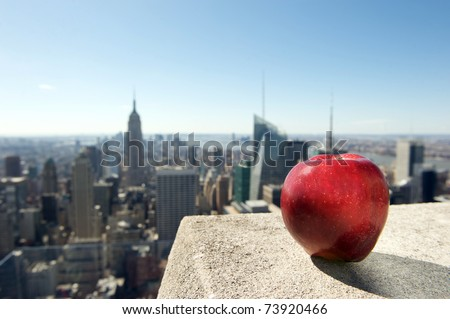 new york, apple - stock photo