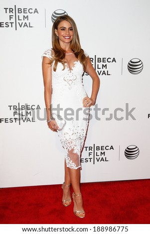"""NEW YORK-APR 22: Actress Sofia Vergara attends the premiere of """"Chef"""" during the 2014 Tribeca Film Festival at BMCC TriBeCa PAC on April 22, 2014 in New York City.  - stock photo"""