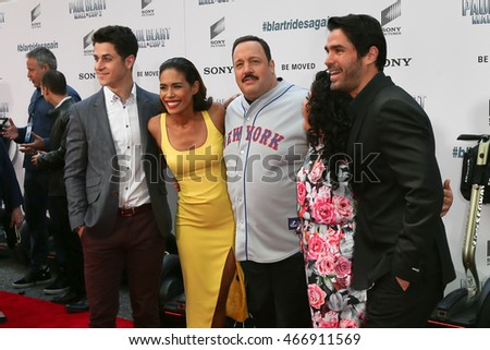 "NEW YORK-APR 11: (L-R) David Henrie, Daniella Alonso, Kevin James, Raini Rodriguez and Eduardo Verastegui attend the world premiere of ""Paul Blart: Mall Cop 2"" on April 11, 2015 in New York City."