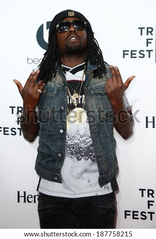 """NEW YORK-APR 16: Rapper Wale attends the world premiere of """"Time Is Illmatic"""" at the 2014 TriBeCa Film Festival Opening Night at the Beacon Theatre on April 16, 2014 in New York City. - stock photo"""