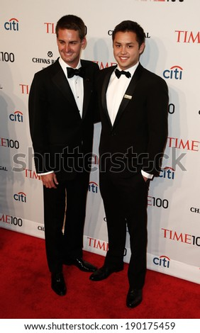 NEW YORK-APR 29: Snapchat founders Evan Spiegel (L) & Robert Murphy attend the Time 100 Gala for Most Influential People at Frederick P. Rose Hall at Lincoln Center on April 29, 2014 in New York City. - stock photo