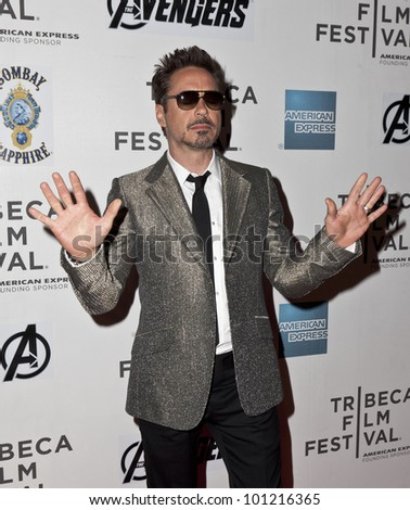 NEW YORK - APRIL 28: Actor Robert Downey Jr. attends 'Marvel's The Avengers' Premiere during the 2012 Tribeca Film Festival at the Borough of Manhattan Community College on April 28, 2012 in NYC