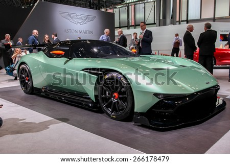 NEW YORK - APRIL 1: Aston Martin  exhibit Aston Martin Vulcan at the 2015 New York International Auto Show during Press day,  public show is running from April 3-12, 2015 in New York, NY. - stock photo