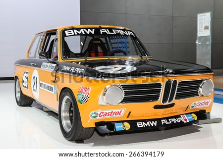 NEW YORK - APRIL 1: BMW exhibit BMW Alpina 2002 ti 1970 model at the 2015 New York International Auto Show during Press day,  public show is running from April 3-12, 2015 in New York, NY. - stock photo